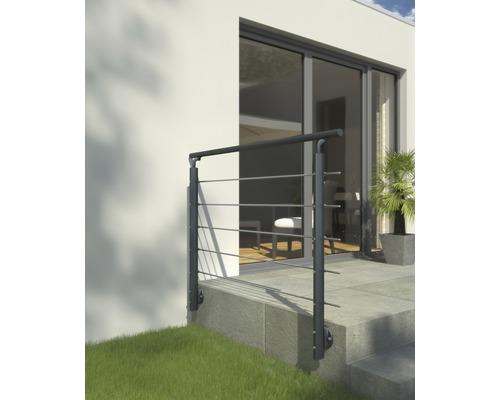 Geländer-Komplettset Pertura Aluminium anthrazit mit fünf Edelstahlstäben für Seitenmontage B: 1.50 m