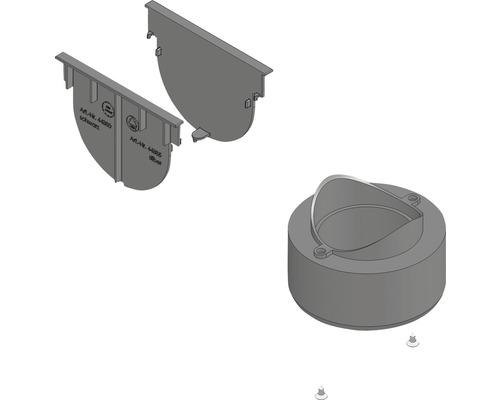 Hauraton TOP X Anschluss-Set mit Stirnwand und Adapter DN/OD 75/110 schwarz