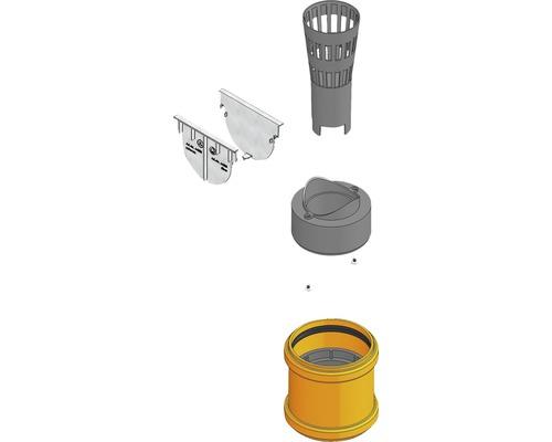 Hauraton TOP X Anschluss-Set mit Stirnwand, Laubfang, Geruchsverschluss und Adapter DN/OD 75/110 silber