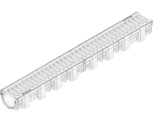 Hauraton TOP X Kunststoffrinne aus PP mit Klemm Stegrost Edelstahl silberfarben 1000 x 119 x 89 mm