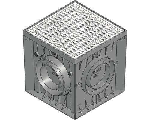 Hauraton Recyfix POINT Hofsinkkasten Kunststoff mit Gitterrost verzinkt 300 x 300 x 300 mm