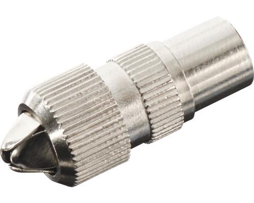Koaxial-Stecker 75 Ohm, Metall, mit Schraubanschluss, HF-Dicht