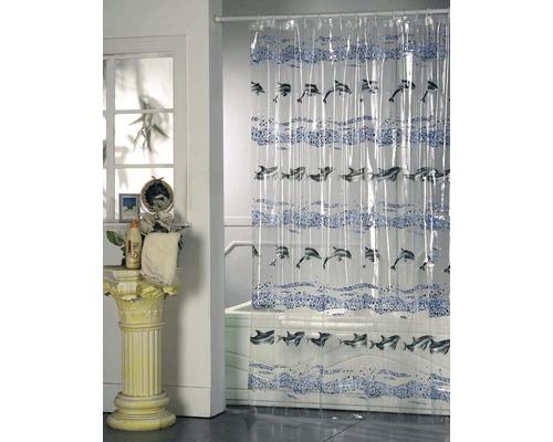 Duschvorhang Delphin blau-schwarz 180x200 cm