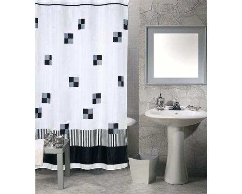 Duschvorhang Quadrate schwarz-weiß 180x200 cm