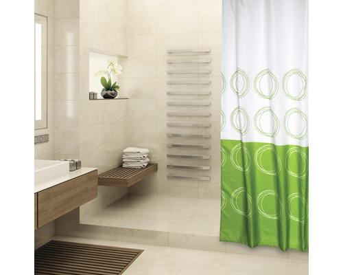 Duschvorhang Kreise grün-weiß 180x200 cm