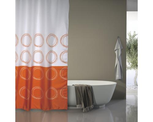 Duschvorhang Kreise orange-weiß 180x200 cm