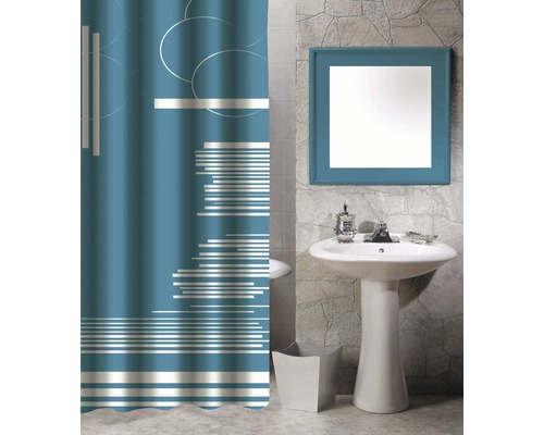 Duschvorhang Grafik blau 180x200 cm