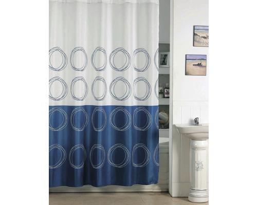 Duschvorhang Kreise blau-weiß 180x200 cm