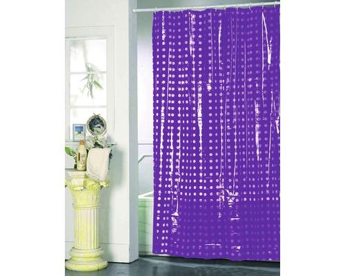 Duschvorhang violett weiß punktiert 180x200 cm