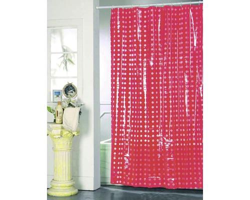 Duschvorhang rot weiß punktiert 180x200 cm