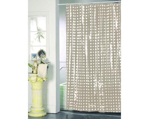Duschvorhang beige weiß punktiert 180x200 cm