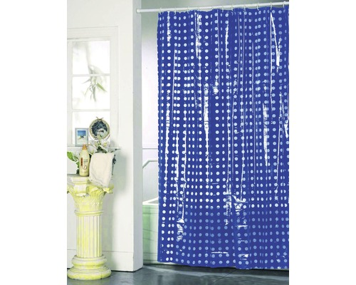 Duschvorhang dunkelblau weiß punktiert 180x200 cm