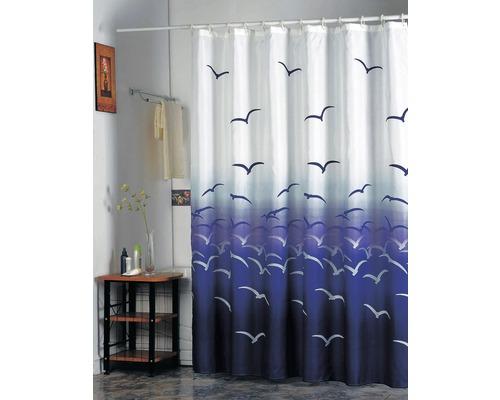 Duschvorhang Möven 180x200 cm mit Anti-Schimmel-Effekt