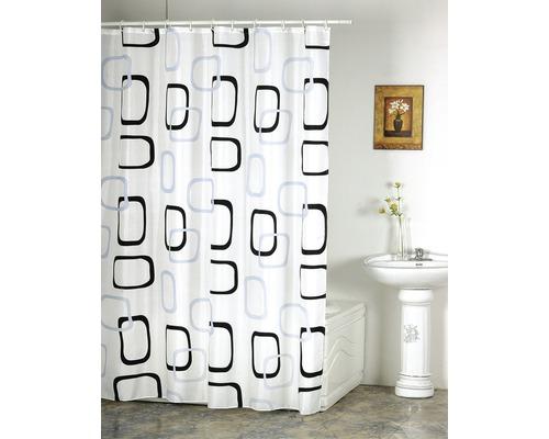 Duschvorhang Quadrate grau-schwarz 180x200 cm