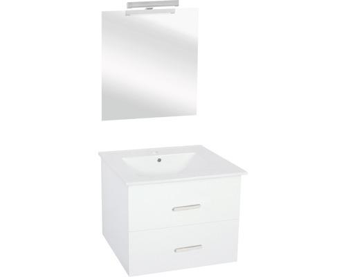Badmöbel-Set Luka 170x60x47 cm weiß mit Beleuchtung