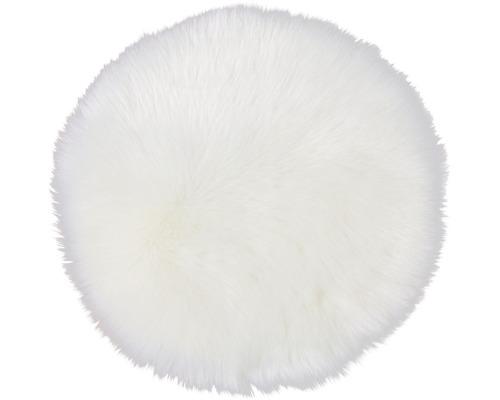 Kunstfell-Sitzkissen weiß Ø 35 cm