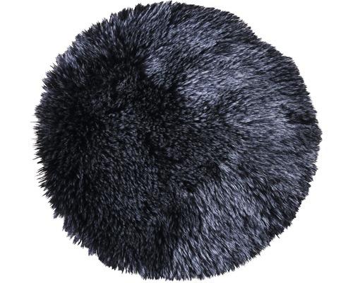Kunstfell-Sitzkissen schwarz Ø 35 cm