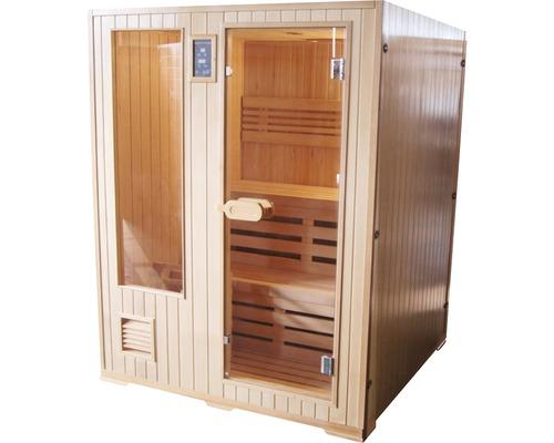 Finnische Sauna Sanotechnik Helsinki inkl. 4.5 kW Ofen u.integr.Steuerung mit Ganzglasfensterfront