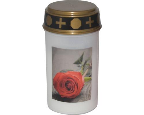 """LED Grablicht """"Rose"""" Ø 6,5 cm H 12 cm Kunststoff weiß"""