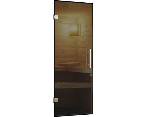 Sauna Türelement Karibu für 68 mm Saunen mit graphit farbiger Ganzglastür 173x64x3,8 cm
