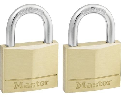 Vorhängeschloss Master Lock Messing 21 mm, 2 Stück