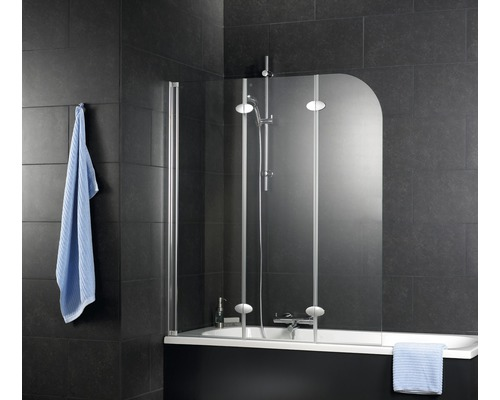 Badewannenfaltwand Schulte 3-teilig 1250x1400 mm Echtglas Klar hell alunatur